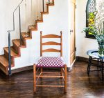 Checkered Shaker Chair. Made of Cherry Wood with A Burgandy and White Checkered Shaker Tape Seat