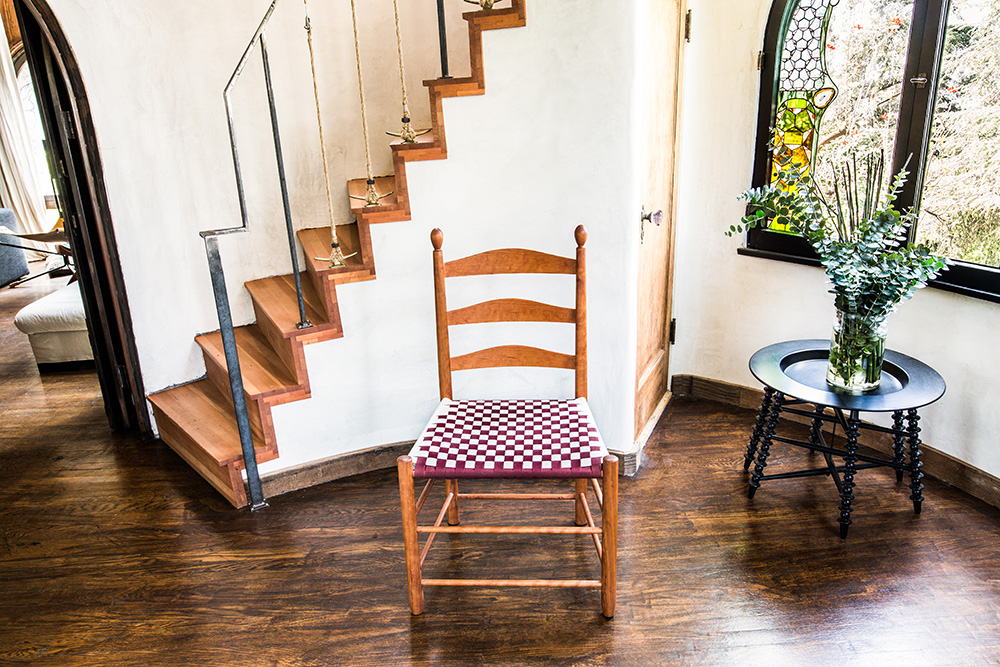 Cherry Checkered Shaker Chair with a Burgandy and White Checkered Shaker Tape Seat