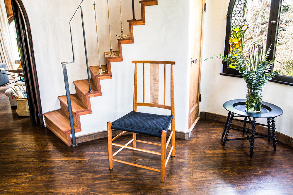 Shaker Inspired Salisbury Chair Made of Cherry with a Black Shaker Tape Woven Seat