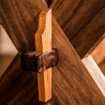 Detail of Joint of Walnut Sawbuck Table with Cherry Live Edge Top