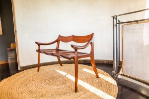 3/4 View of Brawley Made Hand Carved Maloof Settee Reproduction Benches