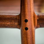 Detailed Close Up of Leg Joint of Brawley Made Hand Carved Maloof Settee Reproduction