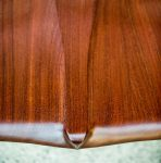 Detail of Seat of Brawley Made Hand Carved Maloof Settee Reproduction
