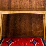 Brawley Made Walnut and Quartered Oak Boyden Hall Table with Vintage Rug