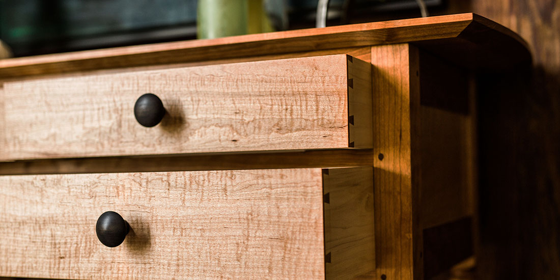 Brawley Made Cherry and Curly Maple Sideboard Table Drawers Side