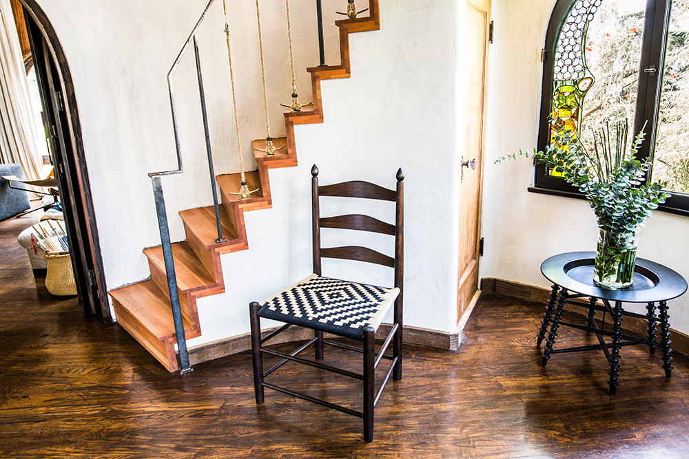 California Shaker Style Chairs with Black and Tan Western Patterned Seat