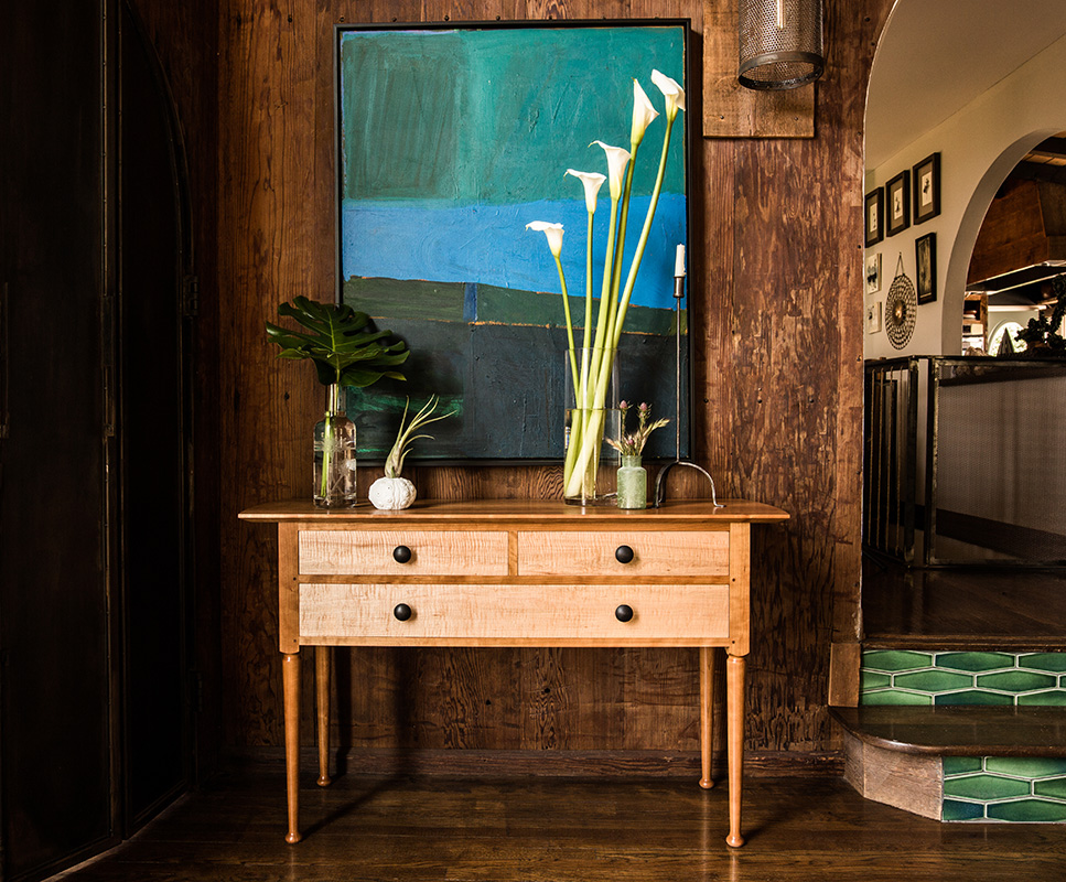 Brawley Made Hand Crafted Henderson Sideboard Made of Cherry and Curly Maple with Ebonized Drawer Pulls in Gorgeous California Living Room
