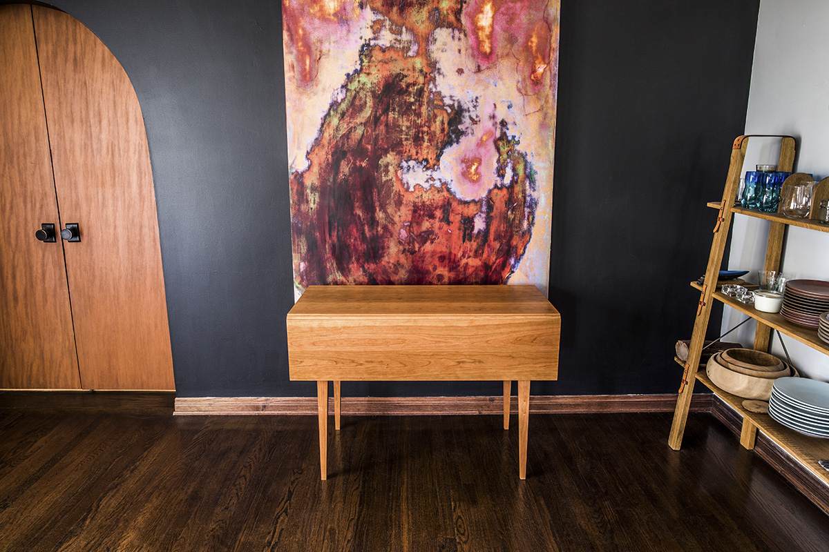 Brawley Made Hand Crafted Cherry Drop Leaf Table With Drawer Folded Up Against Wall