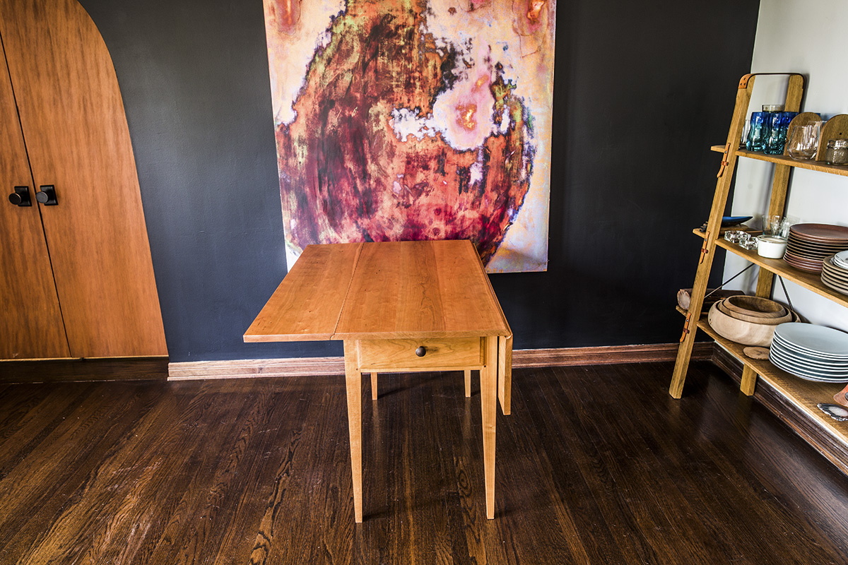 Brawley Made Hand Crafted Cherry Drop Leaf Table with One Leaf Down in Demonstration.