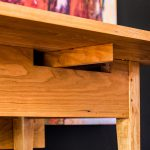 Brawley Made Hand Crafted Cherry Drop Leaf Table With Drawer and Close-Up View of Prop Mechanism