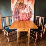 Brawley Made Hand Crafted Cherry Drop Leaf Table With Drawer and with Two Salisbury Chairs