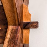 Key-Through Tenon Detail of the Brawley Made Hand Crafted Live Edge Cherry Slab on a Walnut Base Sawbuck Table
