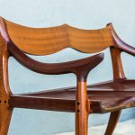 Detail of Arm of Brawley Made Hand Carved Maloof Settee Reproduction