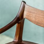 Detail of Back and Arm of Brawley Made Hand Carved Maloof Settee Reproduction