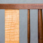 Back Detail of Brawley Made Salisbury Entry Bench Made of Walnut and Spalted Curly Maple