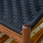 Detail of the Front Corner of the Brawley Made Salisbury Entry Bench made of Walnut