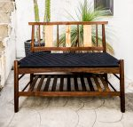 Brawley Made Salisbury Entry Bench Made of Walnut and Spalted Curly Maple on a patio with cactus