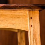 Corner Detail of Brawley Made Walnut and Quartered Oak Boyden Hall Table