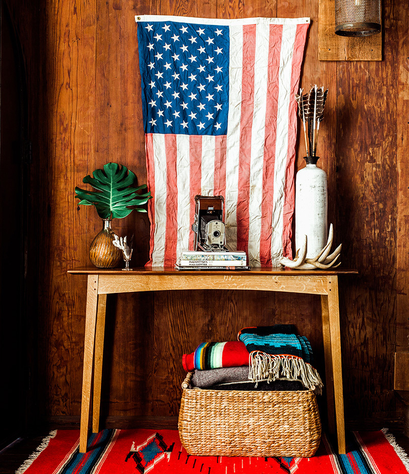 Brawley Made Walnut and Quartered Oak Boyden Hall Table in Americana Living Room