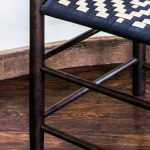 3/4 View of Brawley Made Hand Crafted Ebonized Cherry Wood Shaker Chair with Western Inspired Woven Seat
