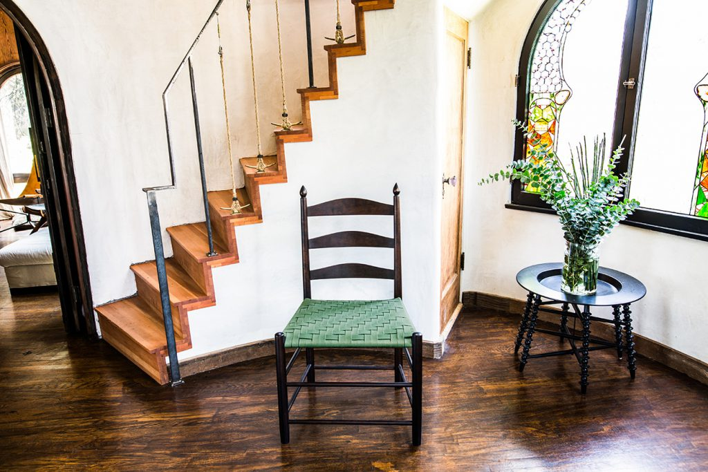 Brawley Made Traditional Shaker Chair with Green Woven Shaker Tape Seat